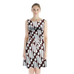 Batik Art Patterns Sleeveless Waist Tie Chiffon Dress