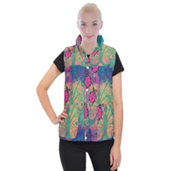 Background Colorful Bugs Women s Button Up Puffer Vest by BangZart