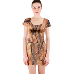 Bark Texture Wood Large Rough Red Wood Outside California Short Sleeve Bodycon Dress