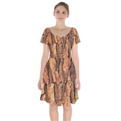 Bark Texture Wood Large Rough Red Wood Outside California Short Sleeve Bardot Dress by BangZart