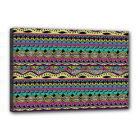 Aztec Pattern Cool Colors Canvas 18  X 12  by BangZart