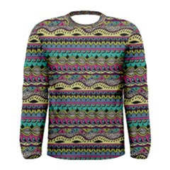 Aztec Pattern Cool Colors Men s Long Sleeve Tee