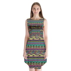 Aztec Pattern Cool Colors Sleeveless Chiffon Dress