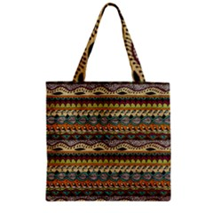 Aztec Pattern Ethnic Zipper Grocery Tote Bag