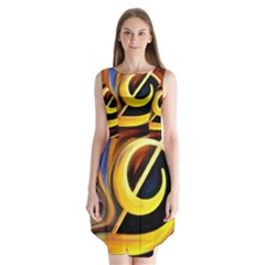 Art Oil Picture Music Nota Sleeveless Chiffon Dress