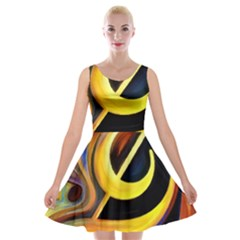 Art Oil Picture Music Nota Velvet Skater Dress by BangZart