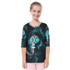 Gas Mask Kids  Quarter Sleeve Raglan Tee