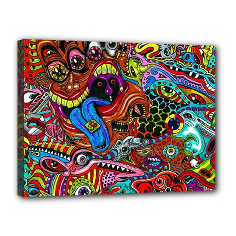 Art Color Dark Detail Monsters Psychedelic Canvas 16  X 12  by BangZart