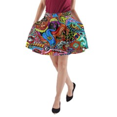 Art Color Dark Detail Monsters Psychedelic A Line Pocket Skirt by BangZart