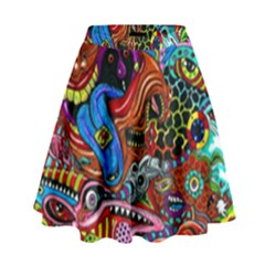 Art Color Dark Detail Monsters Psychedelic High Waist Skirt by BangZart