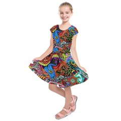 Art Color Dark Detail Monsters Psychedelic Kids  Short Sleeve Dress by BangZart