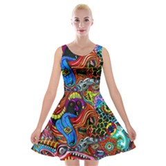 Art Color Dark Detail Monsters Psychedelic Velvet Skater Dress