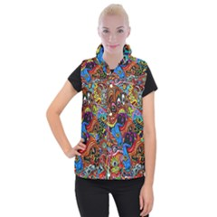 Art Color Dark Detail Monsters Psychedelic Women s Button Up Puffer Vest