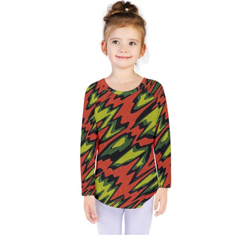 Distorted Shapes                            Kids  Long Sleeve Tee by LalyLauraFLM