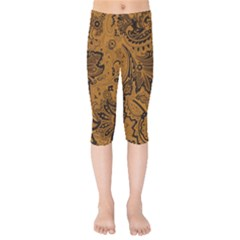 Art Traditional Batik Flower Pattern Kids  Capri Leggings