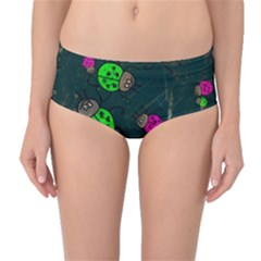 Abstract Bug Insect Pattern Mid Waist Bikini Bottoms