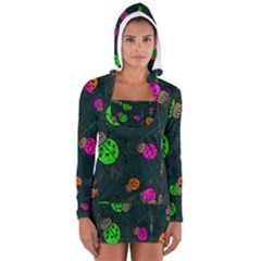 Abstract Bug Insect Pattern Long Sleeve Hooded T Shirt