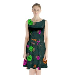 Abstract Bug Insect Pattern Sleeveless Waist Tie Chiffon Dress