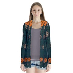 Abstract Bug Insect Pattern Drape Collar Cardigan