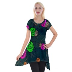 Abstract Bug Insect Pattern Short Sleeve Side Drop Tunic
