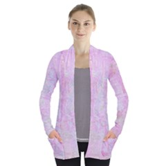 Pink Texture                     Women s Open Front Pockets Cardigan