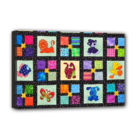 Animal Party Pattern Deluxe Canvas 18  X 12