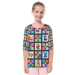 Animal Party Pattern Kids  Quarter Sleeve Raglan Tee