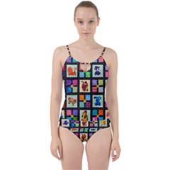 Animal Party Pattern Cut Out Top Tankini Set by BangZart