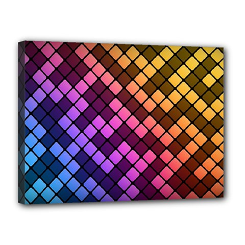 Abstract Small Block Pattern Canvas 16  X 12  by BangZart