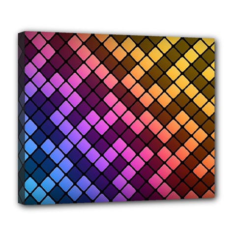 Abstract Small Block Pattern Deluxe Canvas 24  X 20   by BangZart