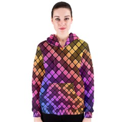 Abstract Small Block Pattern Women s Zipper Hoodie by BangZart