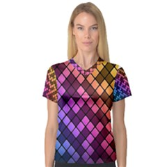 Abstract Small Block Pattern V Neck Sport Mesh Tee