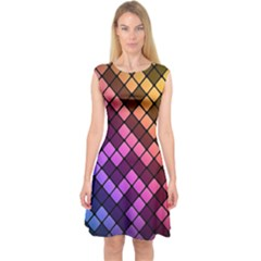 Abstract Small Block Pattern Capsleeve Midi Dress