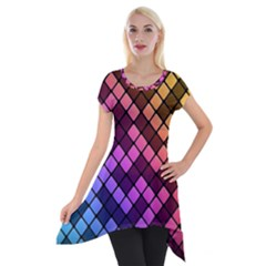 Abstract Small Block Pattern Short Sleeve Side Drop Tunic by BangZart