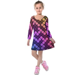 Abstract Small Block Pattern Kids  Long Sleeve Velvet Dress by BangZart