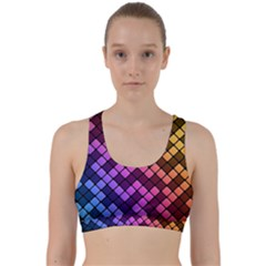 Abstract Small Block Pattern Back Weave Sports Bra