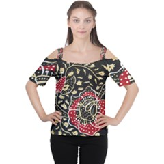Art Batik Pattern Cutout Shoulder Tee