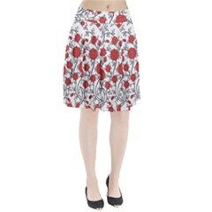 Texture Roses Flowers Pleated Skirt