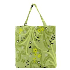 Flowers On A Green Background                            Grocery Tote Bag by LalyLauraFLM