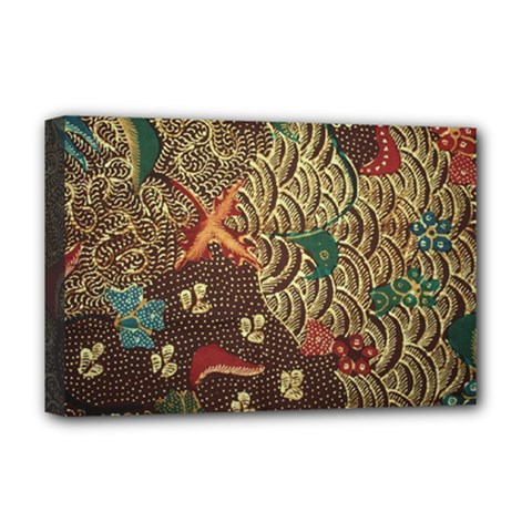 Art Traditional Flower  Batik Pattern Deluxe Canvas 18  X 12   by BangZart