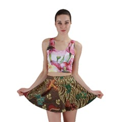 Art Traditional Flower  Batik Pattern Mini Skirt