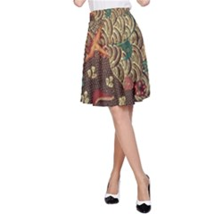 Art Traditional Flower  Batik Pattern A Line Skirt