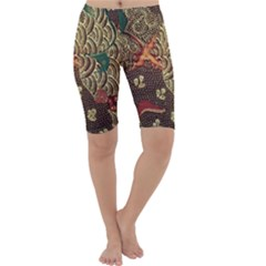 Art Traditional Flower  Batik Pattern Cropped Leggings