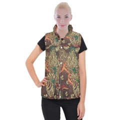 Art Traditional Flower  Batik Pattern Women s Button Up Puffer Vest