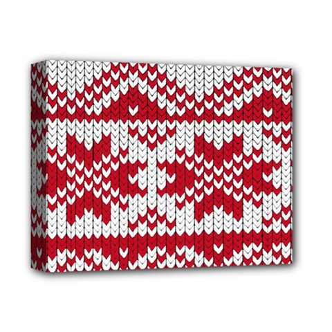 Crimson Knitting Pattern Background Vector Deluxe Canvas 14  X 11