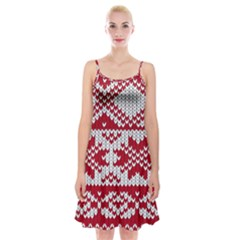Crimson Knitting Pattern Background Vector Spaghetti Strap Velvet Dress