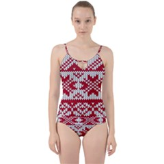 Crimson Knitting Pattern Background Vector Cut Out Top Tankini Set by BangZart