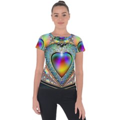 Rainbow Fractal Short Sleeve Sports Top