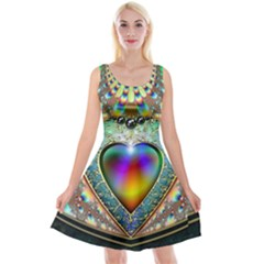 Rainbow Fractal Reversible Velvet Sleeveless Dress