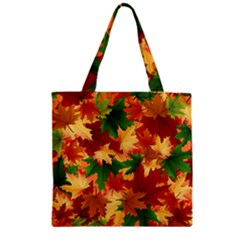 Autumn Leaves Zipper Grocery Tote Bag by BangZart